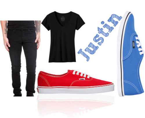 Justin:: Meetingssssss by biebertantrum featuring blue shoesPatagonia v neck tee, $39Denim skinny jeans, $37Vans blue shoes, $90Vans high top shoes