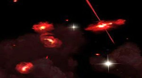 "thenewenlightenmentage:  Strange Red Galaxies: ""A Missing Link?"" Astronomers using the Spitzer Space Telescope discovered four extremely red galaxies that lie almost 13 billion light-years from Earth that appear to be physically associated and may be interacting. One galaxy shows signs of an active galactic nucleus, shown here as twin jets streaming out from a central black hole.   These strange species of galaxy lay hiddenIn the distant reaches of the universe, almost 13 billion light-years from Earth, so cloaked in dust and dimmed by the intervening distance, that even the Hubble Space Telescope couldn't spy them. It took the revealing power of NASA's Spitzer Space Telescope to uncover not one, but four remarkably red galaxies. And while astronomers can describe the members of this new ""species,"" they can't explain what makes them so red. Continue reading ""Image of the Day —Strange Red Galaxies: ""A Missing Link?"""" »"