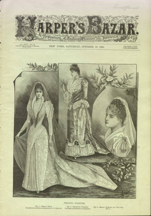 Wedding Toilettes, Harper's Bazar; October 18, 1890.