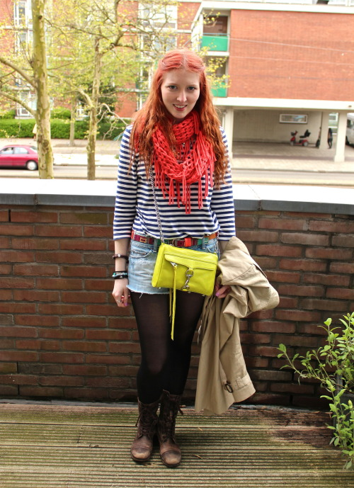 19 june 2012.  this was from our last day in amsterdam. scarf | urban outfitters. top | h&m. belt | river island. shorts | american eagle. tights | dkny. boots | all saints. bag | rebecca minkoff. necklaces | erica weiner & monki.