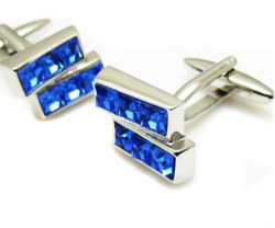 apicked:  Trapezoidal Blue Crystal Cufflinks