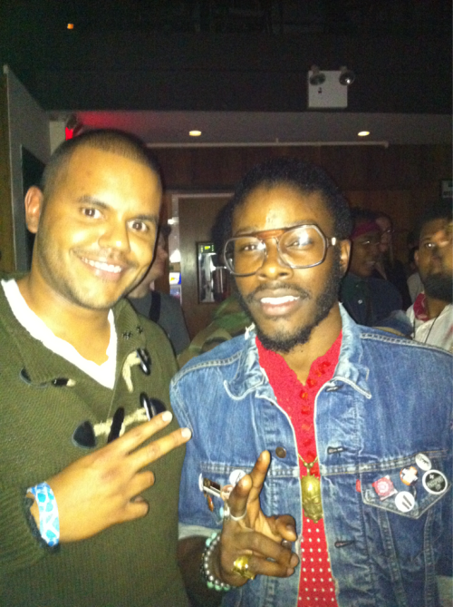 "9.19.2011 World Soul artist Jesse Boykins iii at highland ballroom after his performance for the ""new school jazz at 25"" event. I became an instant fan of his sound when i first heard "" Amorous"" off of his sophomore album, ""The beauty created"". His music is some of best soulful sounds Ive heard in a while. If i had to describe his sound of world soul I would need a blender and mix some of the greatest soul artists from the 70's, 80's, and 90's. He's got a unique and eclectic vision that sounds so right. I look forward to listening to his future sounds and what he will come out with next. So if you don't know get on your job! You can download his music available on ITunes. Support good music peeps! Love!   P.s I look crazy tryin not to blink and mess up the pic. Lol"
