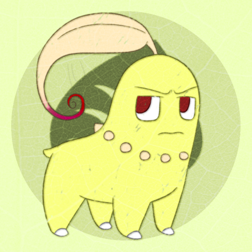 My Pokesona, Paprika. :)She's a shiny Chikorita with a twirly, red-pointed leaf and an attitude.She doesn't usually enjoy other Pokemon's company and prefers to be on her own, admiring the beauty of nature. Additional info below.[[MORE]] She is level 29, she has an Adamant nature, her ability is Ovegrow and her held item is an Everstone. Her moves are the following: Magical Leaf Body Slam Synthesis Solar Beam I think I covered all the bases.
