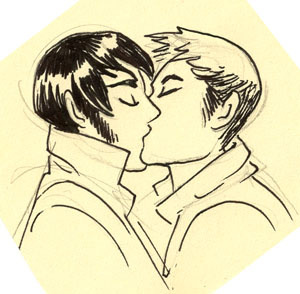 jessfink:  Just a little note pad sketch of some fellas kissin. SMOOOOOOCH HIIIIM.