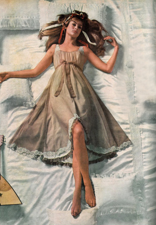 Jean Shrimpton in a nightgown for Vogue, 1968.