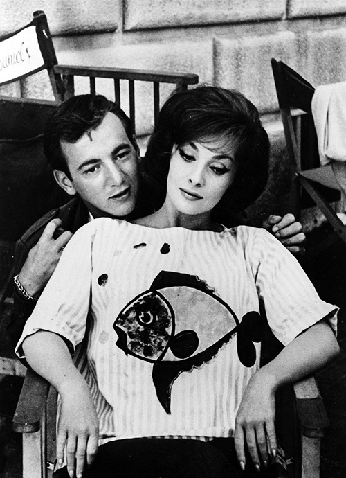 Bobby Darin and Gina Lollobrigida on the set of Come September (1961)