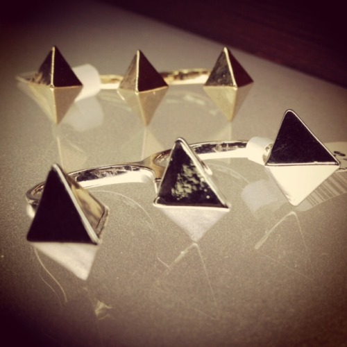 Our new studded double-finger ring that packs a real punch! Only $16 each. Available at our shop, or check our website.