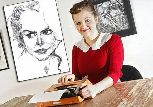 British typewriter artist Keira Rathbone with a portrait of Nicole Kidman. Happy B-day Nicole! The Antikey Chop