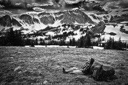 "Afternoon Nap in front of the Snowy Range, Medicine Bow National Forest, Wyoming, Black and White Self PortraitThe woman who follows the crowd will usually go no further than the crowd. The woman who walks alone is likely to find herself in places no one has ever been before"" - Albert Einstein"