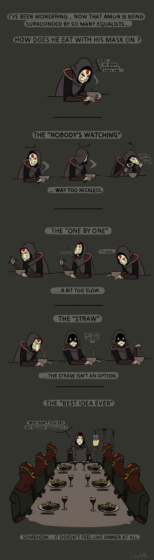 Amon's secret eating techniques by ~Saperlotte