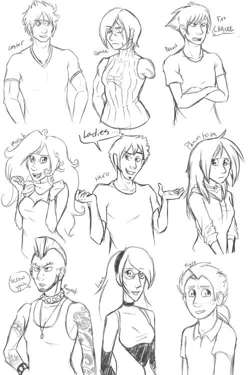 Nine of my Notacloo characters, if they were human. :3 Might do the rest later, but this was just for something different. A change of pace. :3 Lester and Regent are my favorites out of these human designs.