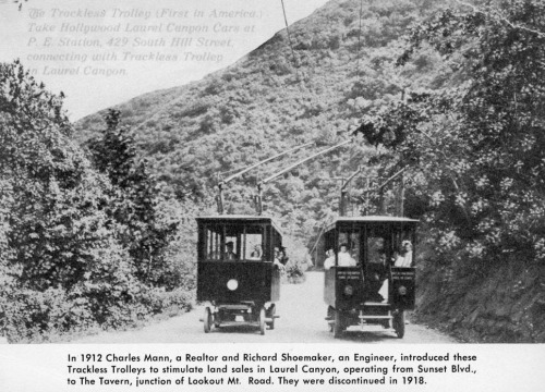 usclibraries:  Laurel Canyon trackless trolleys, the first in the United States, circa 1912-18.