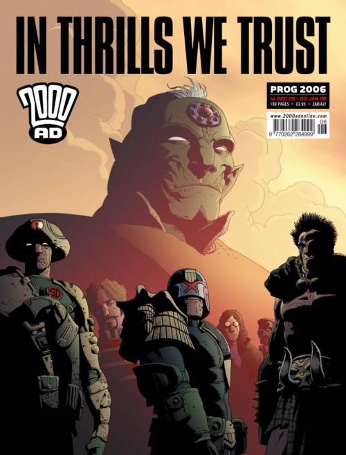 stomm2000ad:  Sadly with this cover(Prog2006,14Dec'05)we reach the end of Kev Walker's 2000AD work(to date)showing a monolithic Tharg gazing out across His Good Works! Hopefully Kev will return to dazzle again sometime soon.. Kev Walker is currently drawing Thunderbolts for Marvel (Thanks to Barney for invaluable aid!)
