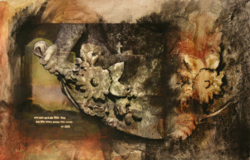 Southern Cemetery Pieces, Summer 2012 Mixed Media: Digital Prints, Image Transfers, Found Text, Gesso and Charcoal -Claudia Wilburn