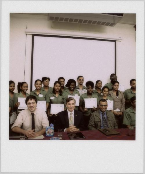 Ambassador Hardt joined Hon. Robert Persaud in congratulating staffers of the Guyana Forestry Commission for completing their training in GIS/Remote Sensing technology.Guyana is now better equipped to protect its rain forest from illegal logging!