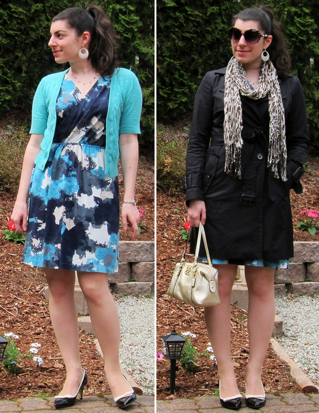 "04.08.2012 [sun] Worn to: errands (Walgreens, Albterstons, Fred Meyer), Easter dinner @ my folks' Dress, cardigan: TargetTights: DKNY (gift)Heels: Anne Klein (via DSW)Earrings, neckalce: giftsWatch: Fossil (gift)Trench: Banana Republic (via YLF swap)Scarf: Dress BarnPurse: Coach (gift)Shades: Forever 21  Behind the outfit:Today's dinner isn't necessarily a dressy affair, but I know that my folks do tend to dress a bit nicer for Easter dinner as it's one of the few holidays my mom celebrates. The pastel colors of Easter don't do me any favors so I decided to wear something lady-like that hints at pastels, but with colors that are still saturated enough for my coloring. It was most definitely too cold for this outfit BUT I wanted to wear it so I did! I started with the cardigan, which is the closest to a pastel clearly-non-casual thing in my wardrobe (recently pulled out for spring/summer). After looking over my dress options, I chose this one because I liked how the blue looked with the aqua cardigan (though a sweater dress would have been more weather appropriate). I wore nude microfishnets to mitigate a bit of the coldness, and chose my most lady-like heels to complete the ""Easter vibe"". Normally I like to wear a belt with this dress because leaving the exposed elasticy band really bugs me, but today I decided to just leave it be. I chose silver accessories to play into the cool colorway for the indoor look, and gold/leopard to contrast the cool colorway for the outdoor look. And hair up so it would say out of my food ^^"