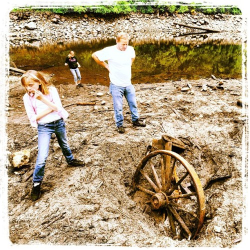 The Herr family, with the wagon wheel and wagon they uncovered in the mud near Mission's Hayward Lake. #artifacts #history (Taken with Instagram)