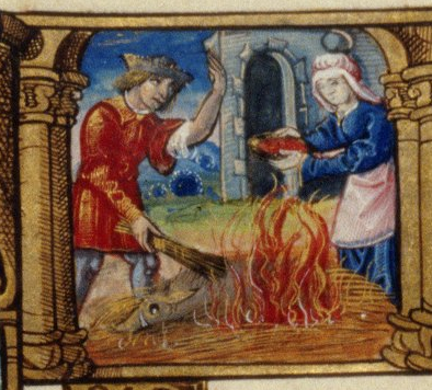 "Bodleian Library, MS Douce 135: ""man and woman burning the hair off a pig, the woman holds a dish with its blood"""