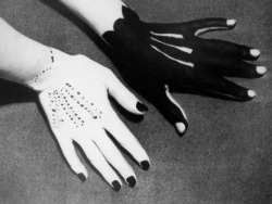 daiseas:  Man Ray, Hands painted by Pablo Picasso, 1935