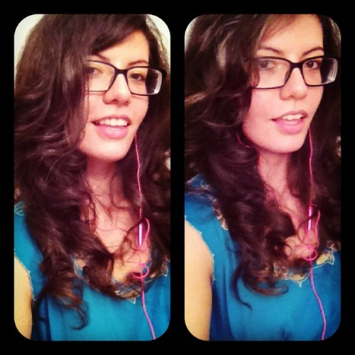 Curled my curly hair. Trying to get to that Kim K level. #longhair #brunette #girl #glasses #curlyhair #iphone #igers #picstich #instadaily #instagram (Taken with Instagram)
