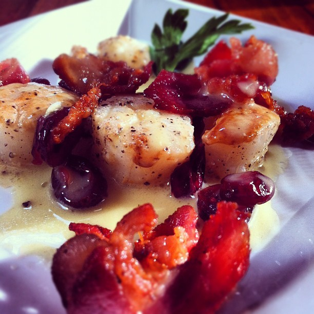 Scallops with bacon and spicy dried cranberries :) (Taken with Instagram)