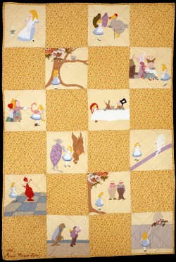 modernart1945-1980:  Cotton Crib Quilt, Alice in Wonderland patterned. Marion Whiteside Newton. 1945.