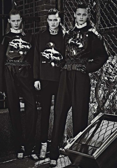 "Kremi Otashliyska, Julia Nobis, and Maria Bradley in ""Double Edge"" photographed by Craig McDean for W Magazine, July 2012"