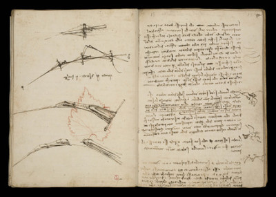 vultureswing:  Leonardo da Vinci's studies in the Codex on the Flight of Birds (ca. 1490-1505) inspired his designs for flying machines. Although the machines failed, Leonardo made landmark discoveries about center of gravity and air currents by observing how birds stay aloft without flapping their wings. Left-handed and believed to be dyslexic, Leonardo wrote his notes backwards, in mirror image, which kept the ink from smudging as his hand dragged across the page.