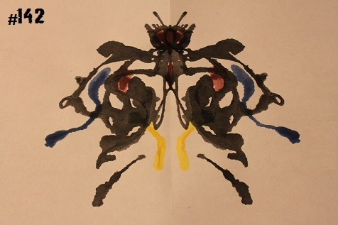 inkblotoftheday:  Tincture Tuesday, featuring Inkblot #142 Instructions: Tell me what you see. -Enjoy  The spirit of Mothra lives!