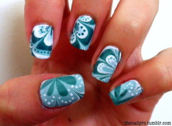 thenailpro:  was slightly inspired by colette's kiwi water marble :) colors used: color club-french tip orly-gum drop sinful colors-envy