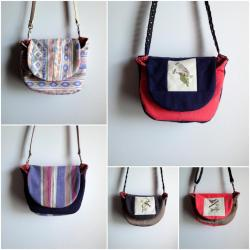 Upcycled crossbody bags new in shop.  From pants, skirts, shorts, and the like.
