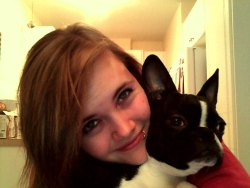 Me and my dog, no extensions. I know I look funny, so don't judge. (:
