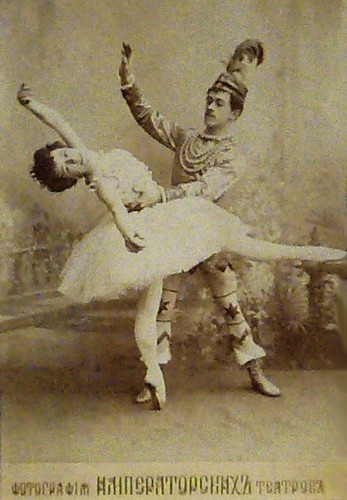 Olga Preobrazhenskaya as the Sugar Plum Fairy and Nikolai Legat as Prince Coqueluche in the Grand pas de deux in an early production of The Nutcracker. Imperial Mariinsky Theatre, St. Petersburg, Russia, ca. 1900.