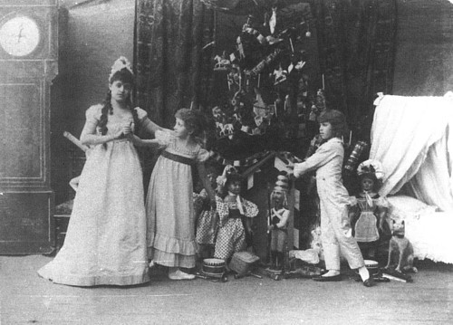 Left to right: Stanislava Belinskaya as Clara, Lydia Rubtsova as Marianna and Vassily Stukolkin as Fritz, in the original production of The Nutcracker. Imperial Mariinsky Theatre, St. Petersburg, Russia, 1892.