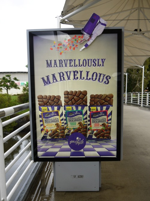 Spotted: creative outdoor ad on the Sunshine Coast in Queensland, for Cadbury's new delicious treat Marvellous Creations.
