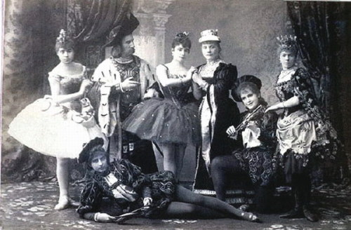 Publicity shot of the original cast of Tchaikovsky's ballet, The Sleeping Beauty, St Petersburg, Russia, 1890.