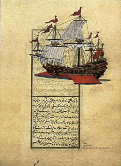 adamthenorman:  A page from the manuscript and an Ottoman Goke ship. Tuhfat al-Kibar, Istanbul University Library, TY. 6118, fol. 17b.
