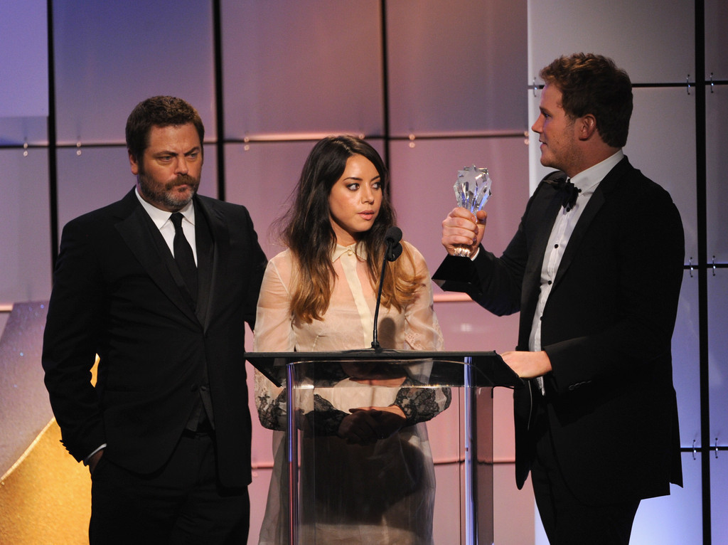 Nick Offerman, Aubrey Plaza and Chris Pratt accept 'Best Comedy Actress' on behalf of Amy Poehler at the Critics Choice Television Awards, June 18th