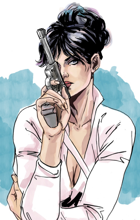 [ Description: A portrait image of Modesty Blaise, a pale skinned woman with long dark hair worn up in a messy bun. She wears a longsleeved white shirt that exposes her cleavage, and holds what appears to be a WWII era German handgun in her right hand obscuring her face. ] lulubonanza:  I love Modesty Blaise by *MarcLaming