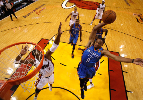 nba:  June 19, 2012 - NBA Finals Game 4: Oklahoma City Thunder at Miami Heat. (Photo by Mike Segar-Pool/Getty Images)