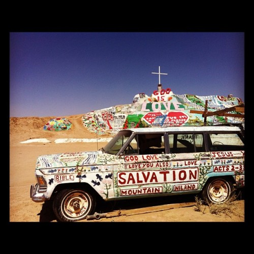 "isstevestillalive:  During our road trip we stopped at Salvation Mountain and Slab City just outside the city of Niland, CA.  Salvation Mountain is the creation of Leonard Knight, you may have seen this site and Leonard in the movie ""Into the Wild."" (Taken with Instagram at Salvation Mountain)"