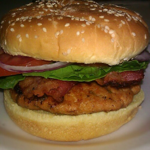 Yum-o! This looks great! annluvsrainz:  Asian-Style Salmon Burgers BLT's for dinner… Rachael Ray's Burger of the Month.. I love her recipes!!! This was def another yummy burger recipe.. (Taken with Instagram)