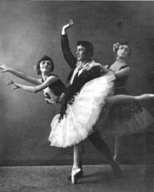 "Elizaveta Gerdt, Elsa Vill, and Pierre Vladimirov in the ""Paquita"" Pas de Trois, St. Petersburg, Russia, 1905."
