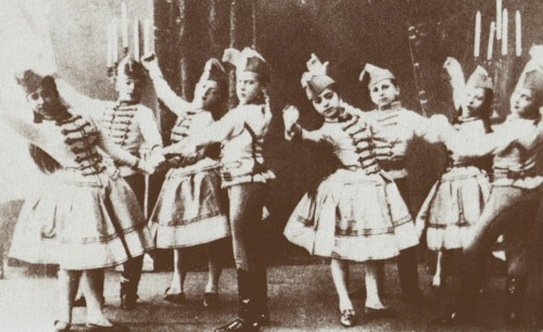 Students of the Imperial Ballet School (today known as the Vaganova Academy of Russian Ballet) costumed for the Mazurka des enfants from the ballet Paquita, ca. 1900.