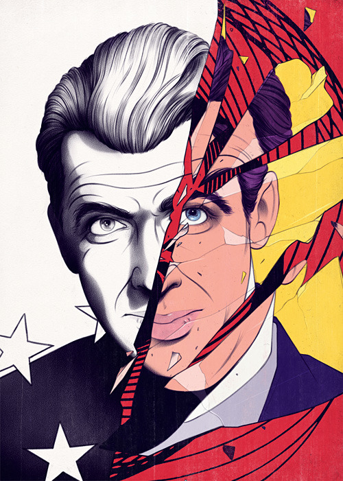 andrewarcher:  James Stewart / Vertigo for Intelligent Life MagazineGIF is a little bit shit for detail/color, so here's the final image also. While I'm here I don't think I mentioned I've now got a twitter account which has some other wip/of the moment stuff… some food/basketball shit talking.. the usual, join in.