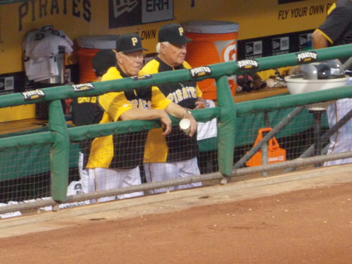 The Quail and Maz look on as the Buccos took on the Twinkies at PNC (photo courtesy Pittsburgh Pirates)
