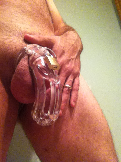 My first foray with a chastity cage. So far, so good. Intense. #cuckold #chastity