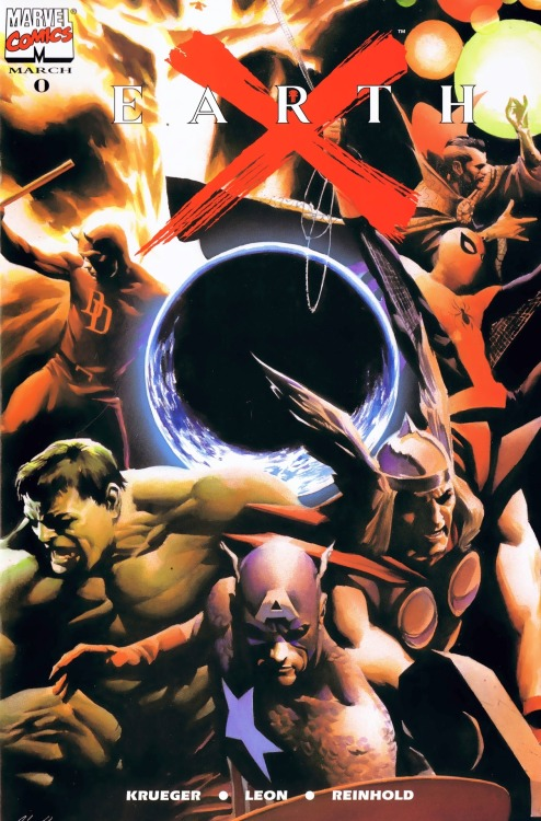 Earth X #0; Dynamic Forces variant cover by Alex Ross (1999)