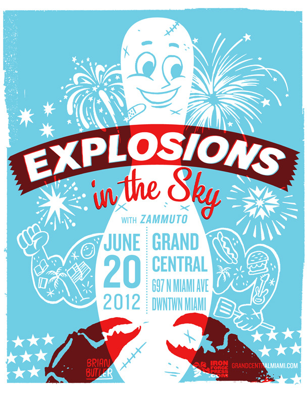 My gigposter for Explosions in the Sky with Zummuto at Grand Central, Miami FL