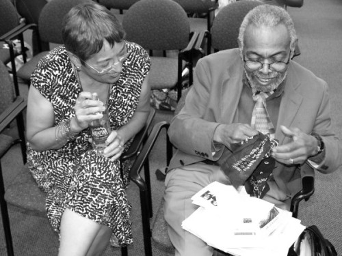 love this photo! dailydiggings:  Toi Derriotte & Amiri Baraka at Cave Canem Retreat 2012